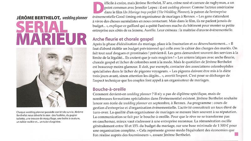 Interview de Jérôme Berthelot, wedding planner, dans le mensuel de Rennes